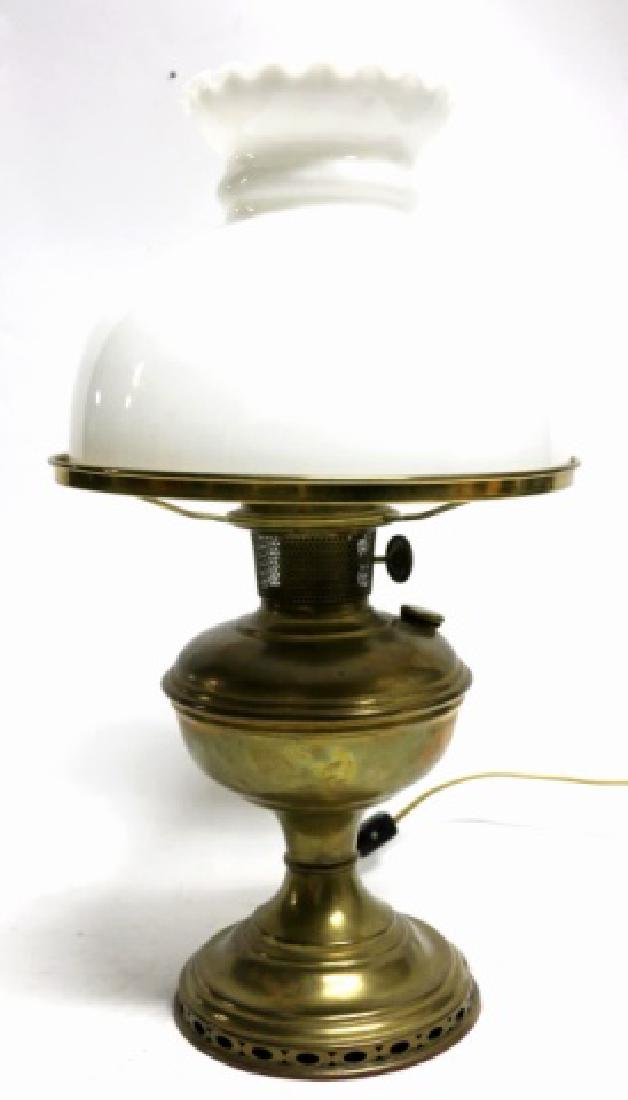 ANTIQUE BRASS ALADDIN OIL LAMP - 3