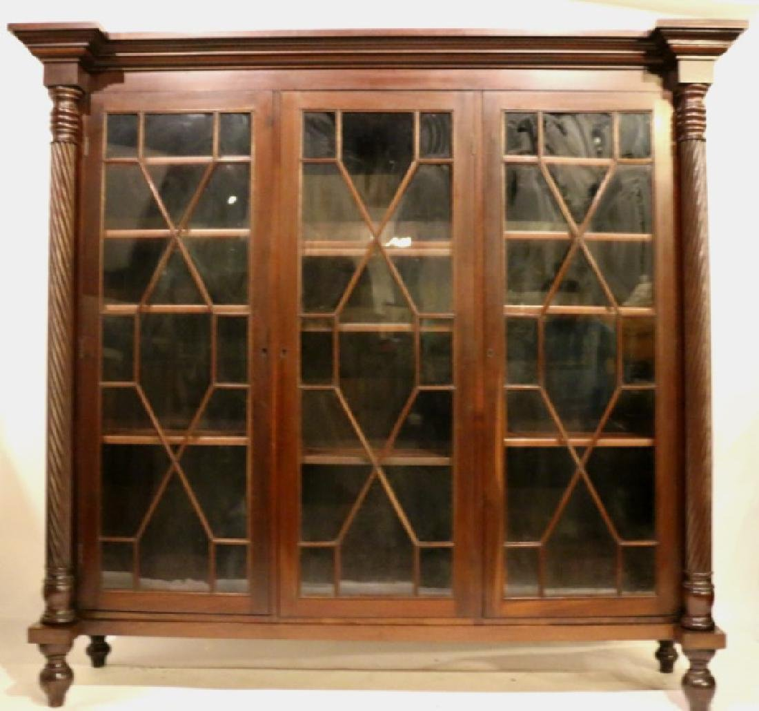 PALATIAL MAHOGANY ANTIQUE COLUMN LAWYERS BOOKCASE