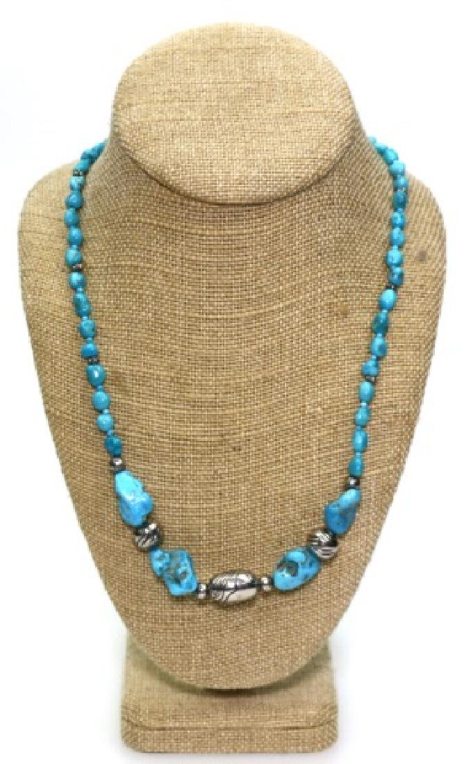 STERLING SILVER & TURQUOISE BEADED NECKLACE