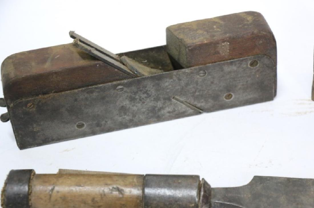 ANTIQUE WOODEN  PLANE , SAW & CHISEL GROUPING - 2