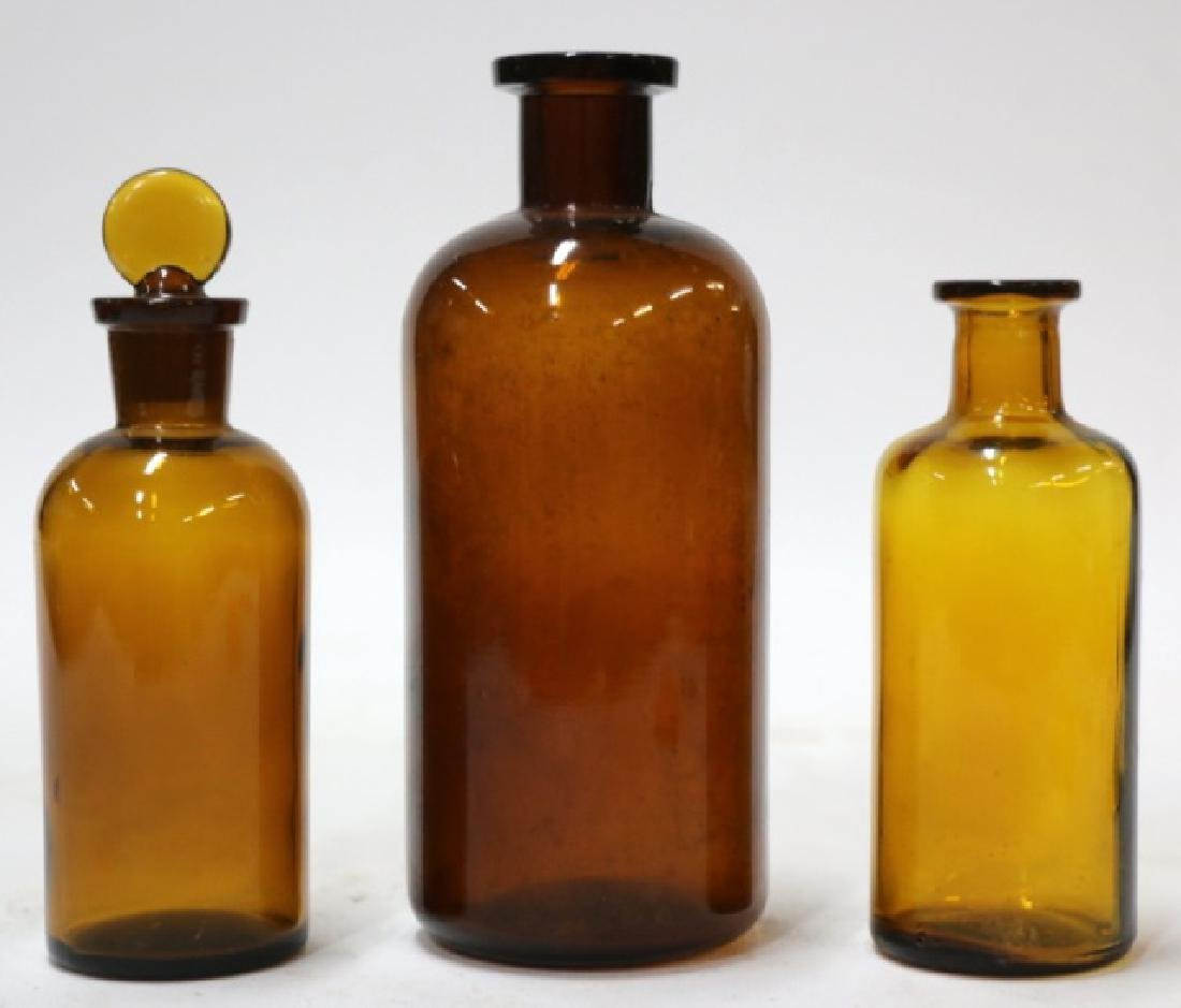 AMBER ANTIQUE APOTHECARY BOTTLE GROUPING