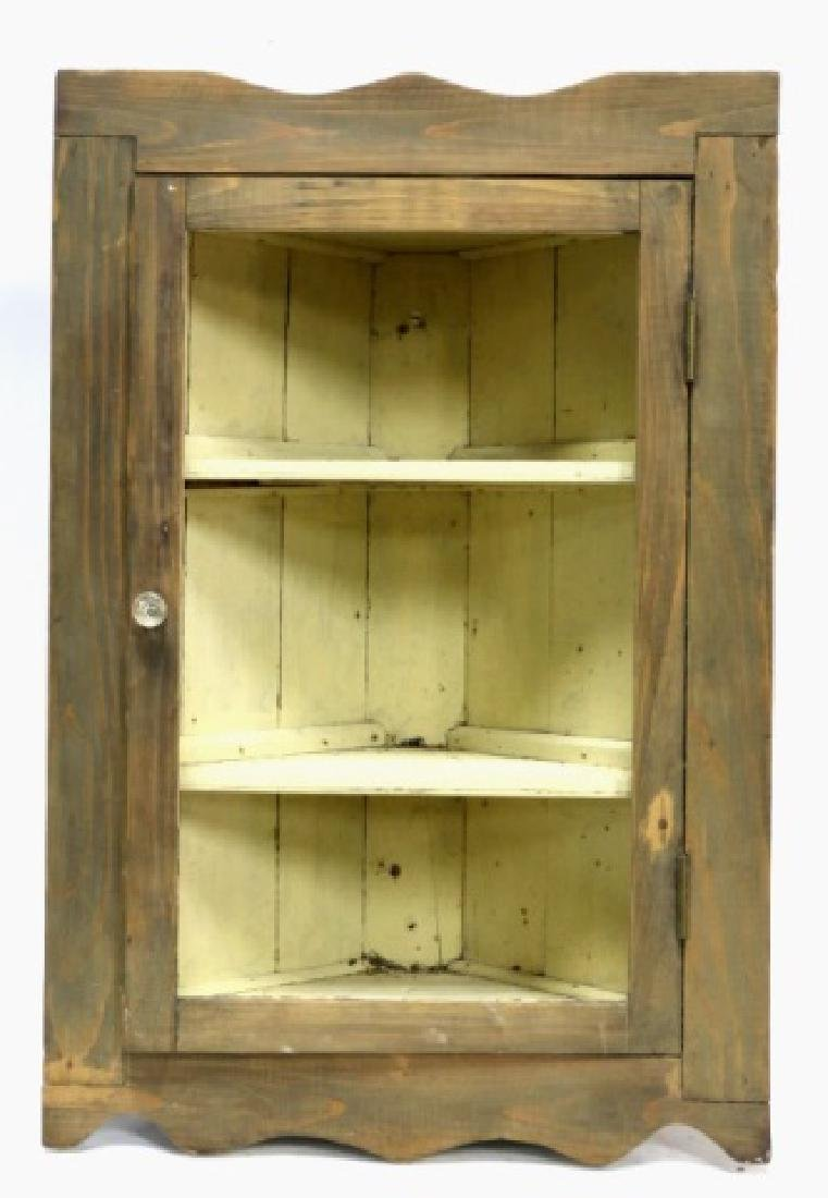 ANTIQUE PAINTED PINE HANGING CORNER CUPBOARD