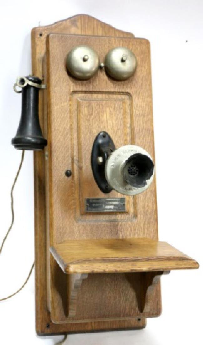 "ANTIQUE ""CHICAGO TELEPHONE"" OAK HANGING TELEPHONE"