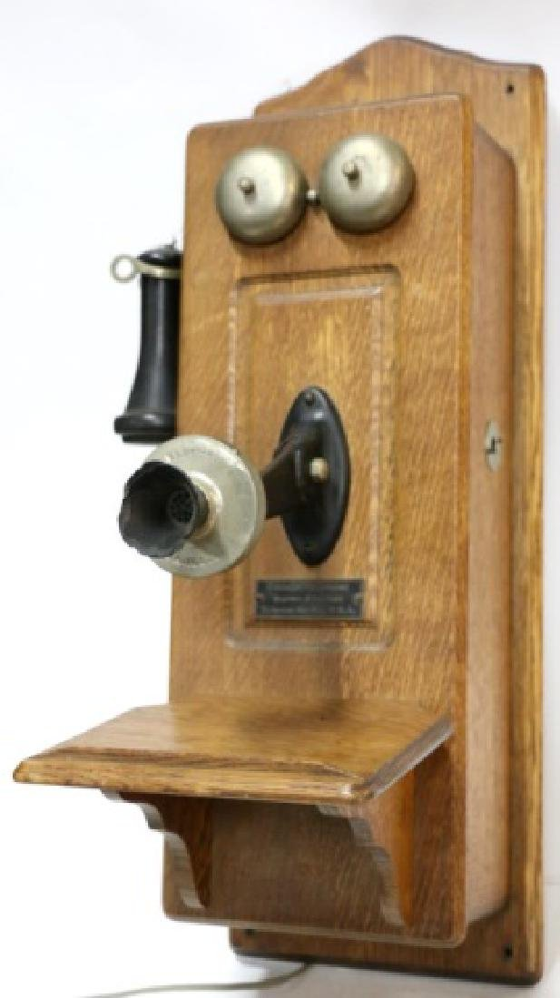 "ANTIQUE ""CHICAGO TELEPHONE"" OAK HANGING TELEPHONE - 3"