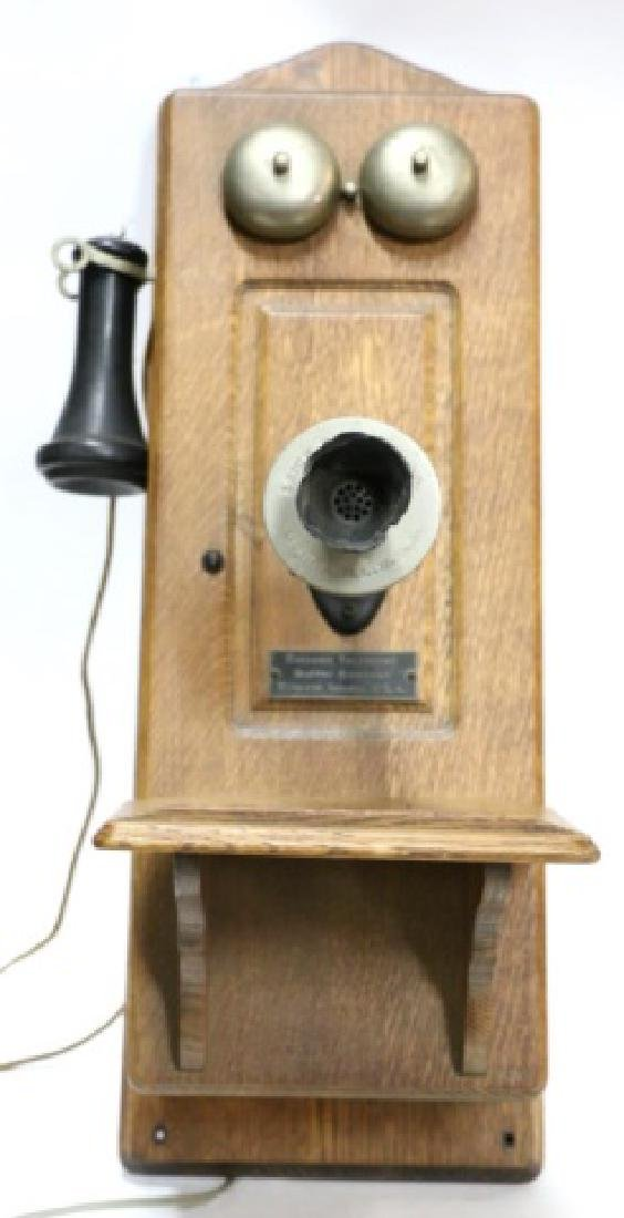 "ANTIQUE ""CHICAGO TELEPHONE"" OAK HANGING TELEPHONE - 4"