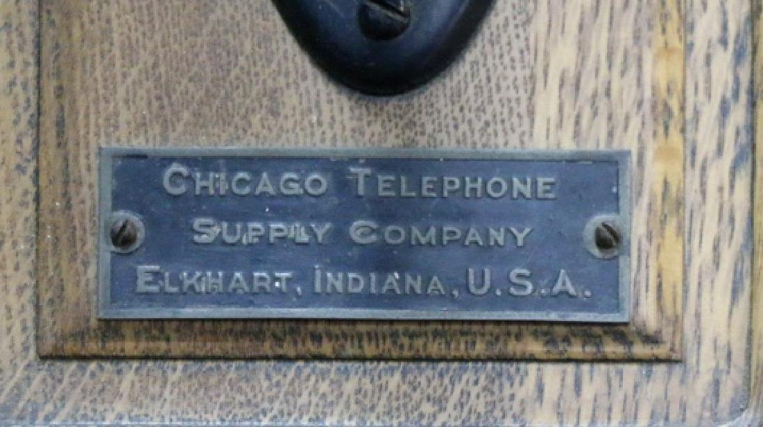 "ANTIQUE ""CHICAGO TELEPHONE"" OAK HANGING TELEPHONE - 6"