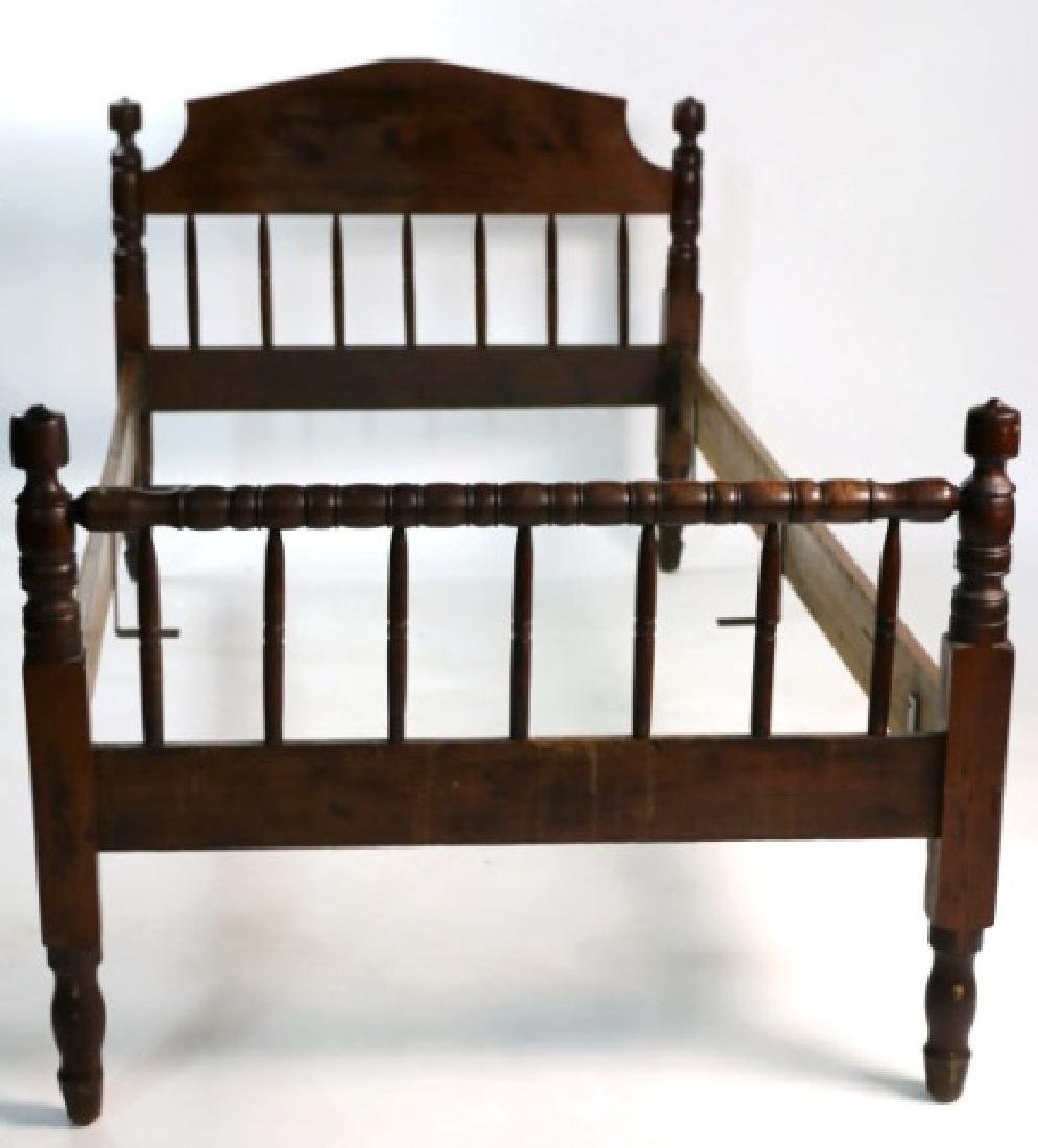 AMERICAN SOUTHERN ANTIQUE WALNUT ACORN SINGLE BED