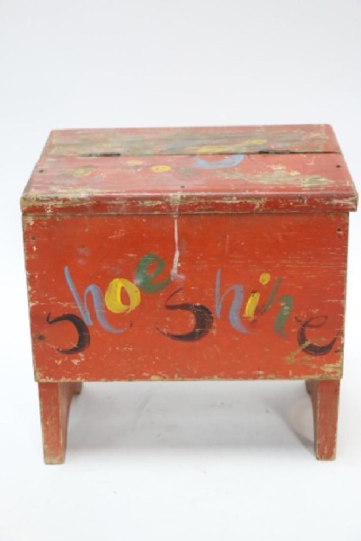 ANTIQUE DOVETAILED PRIMITIVE SHOE SHINE BOX - 2
