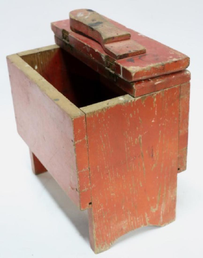 ANTIQUE DOVETAILED PRIMITIVE SHOE SHINE BOX - 3