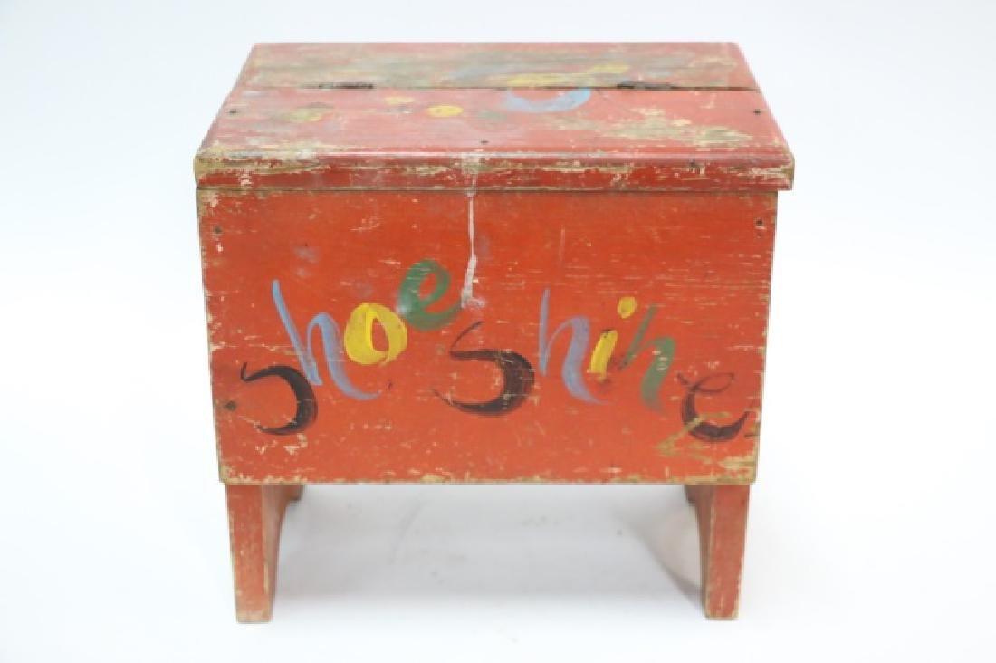ANTIQUE DOVETAILED PRIMITIVE SHOE SHINE BOX - 4