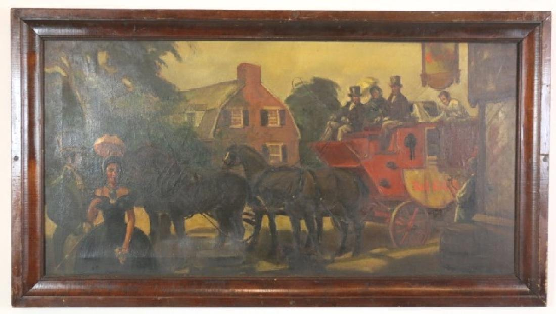VICTORIAN OOC  ENGLISH EQUESTRIAN RED COACH SCENE