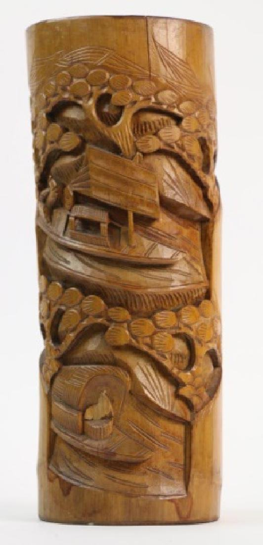 CHINESE HAND CARVED BAMBOO BRUSH POT