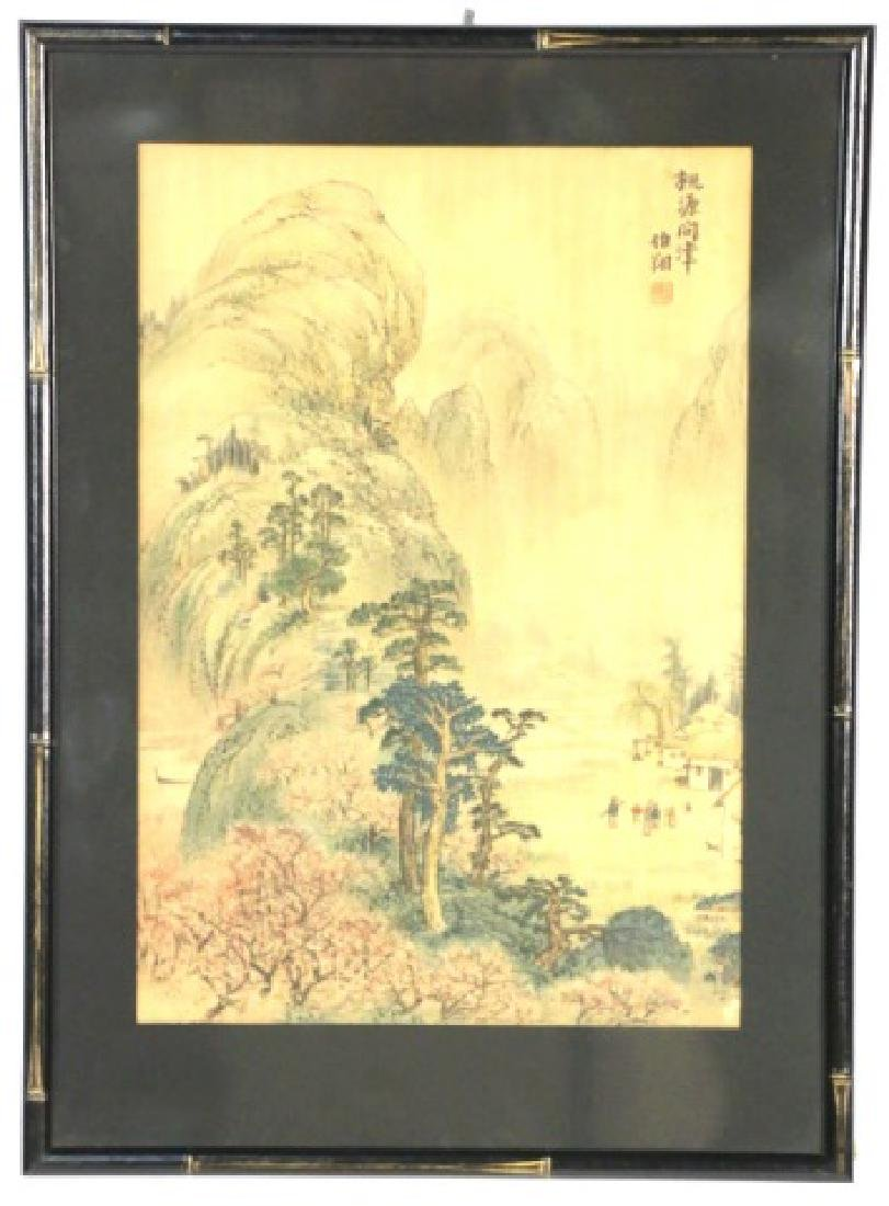 CHINESE ANTIQUE FRAMED WOODBLOCK