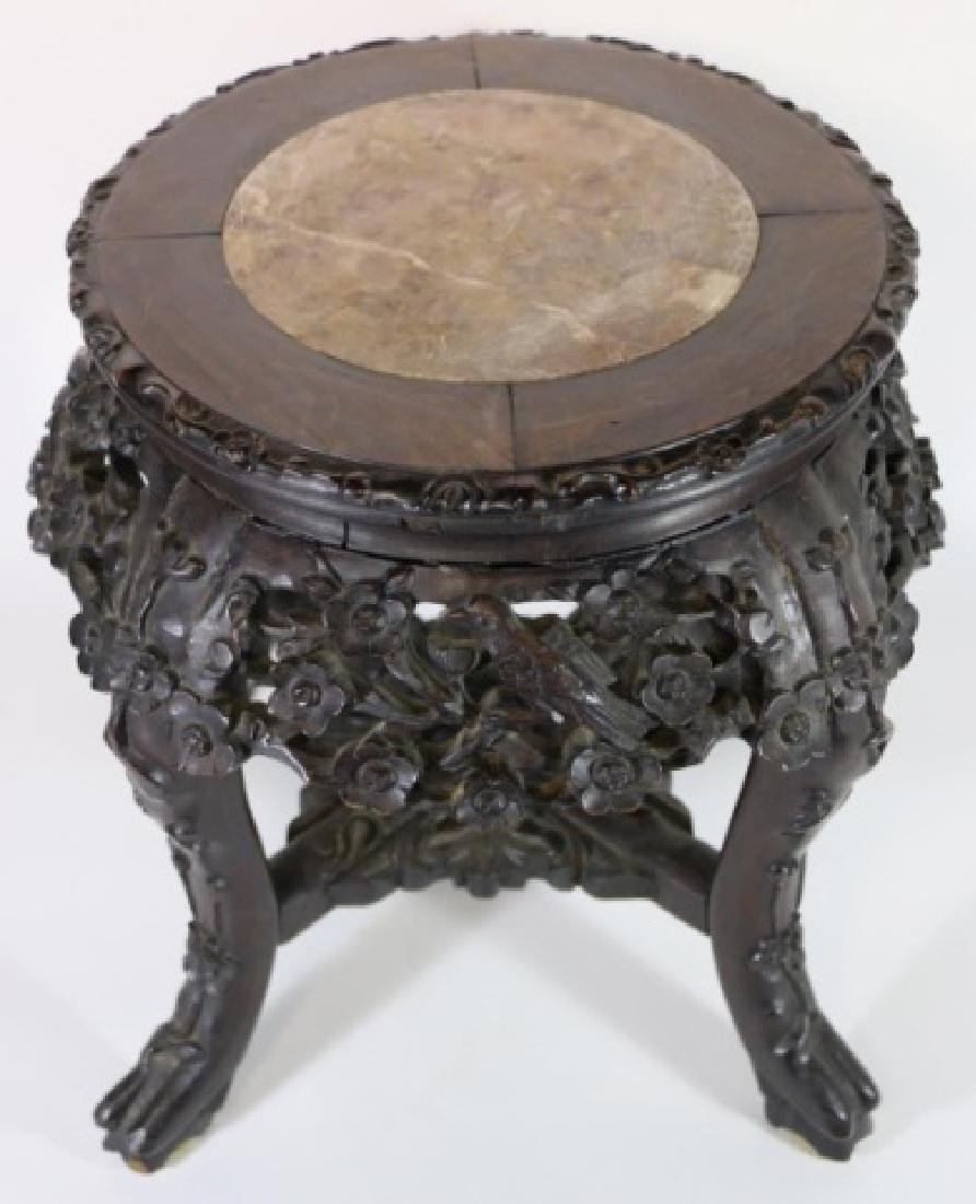 CHINESE HARDWOOD MARBLE INSET TABLE