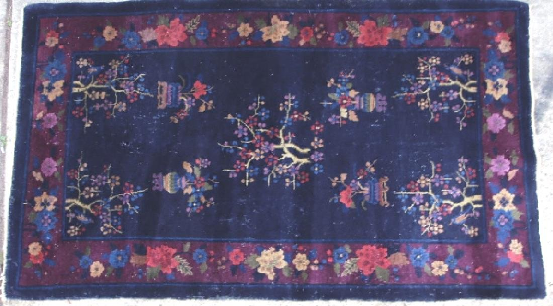CHINESE ANTIQUE ART DECO HAND WOVEN AREA RUG