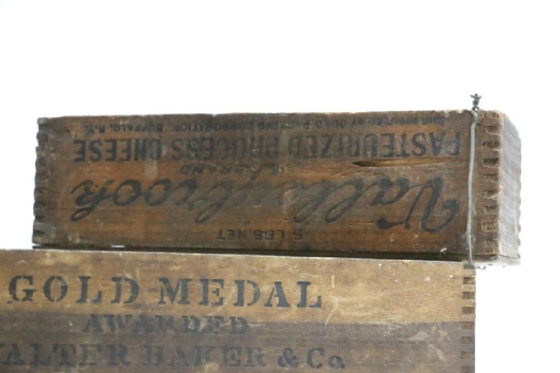 ANTIQUE WOODEN DOVE-TAILED BOX GROUPING - 5