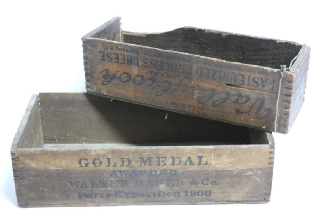 ANTIQUE WOODEN DOVE-TAILED BOX GROUPING - 8