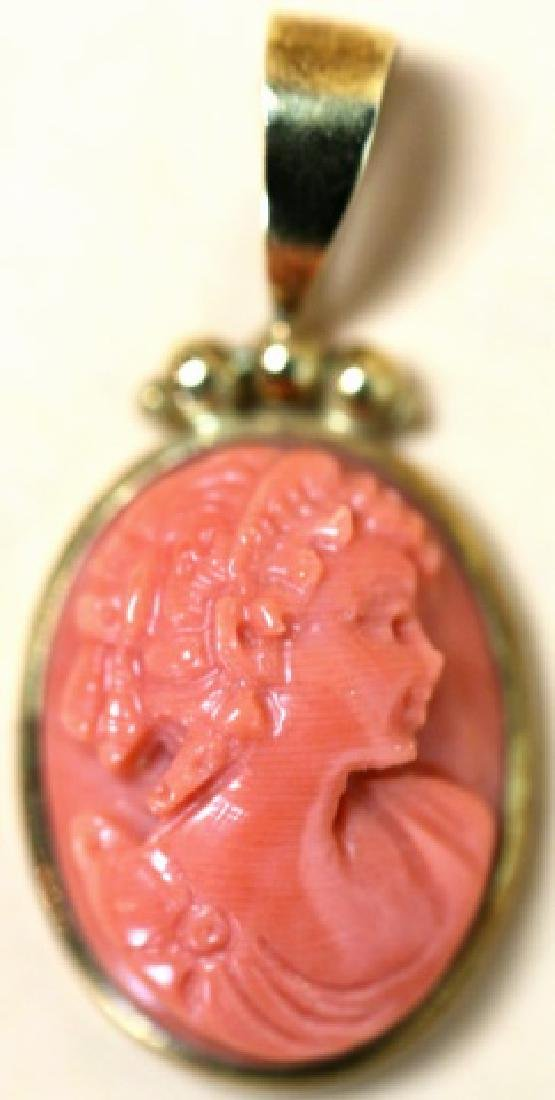 14KYG & HAND CARVED CORAL CAMEO ANTIQUE PENDANT