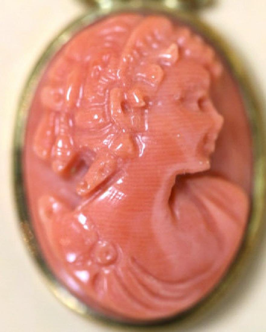 14KYG & HAND CARVED CORAL CAMEO ANTIQUE PENDANT - 2