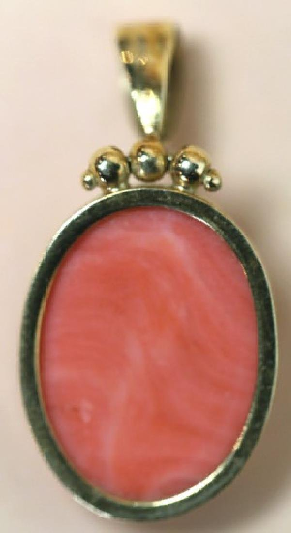 14KYG & HAND CARVED CORAL CAMEO ANTIQUE PENDANT - 3