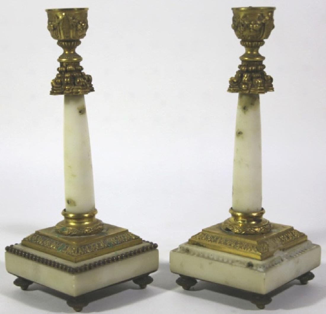 FRENCH ANTIQUE MARBLE BRONZE MOUNTED CANDLE PRICKS