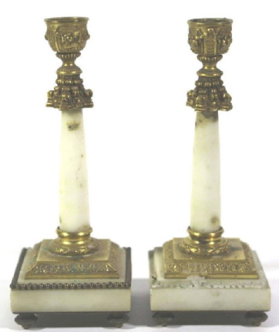 FRENCH ANTIQUE MARBLE BRONZE MOUNTED CANDLE PRICKS - 2