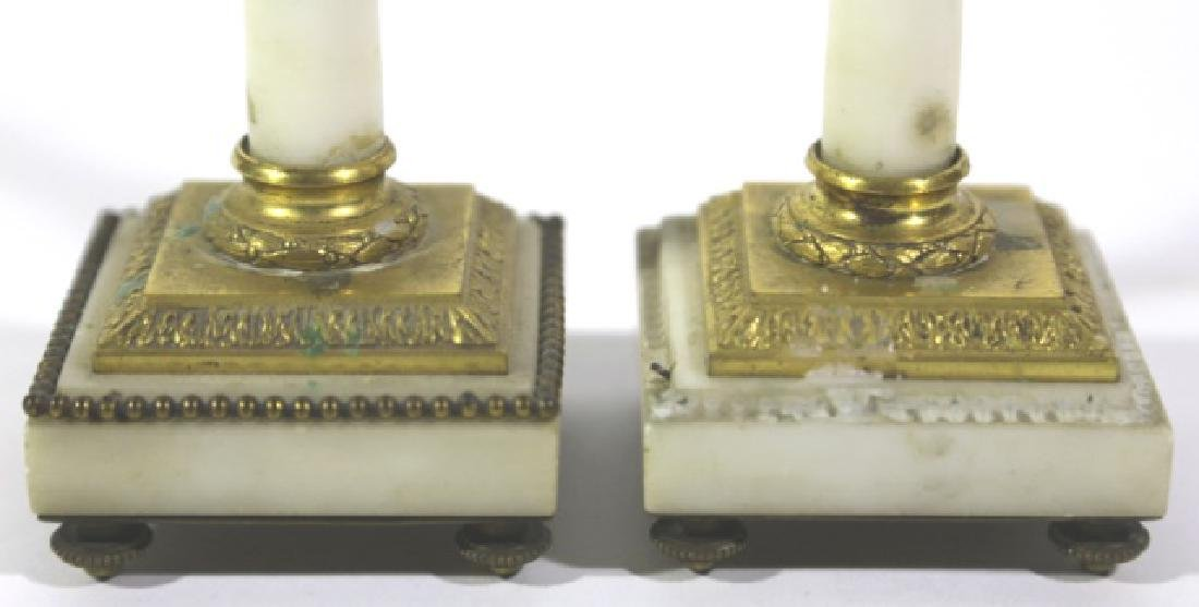 FRENCH ANTIQUE MARBLE BRONZE MOUNTED CANDLE PRICKS - 3