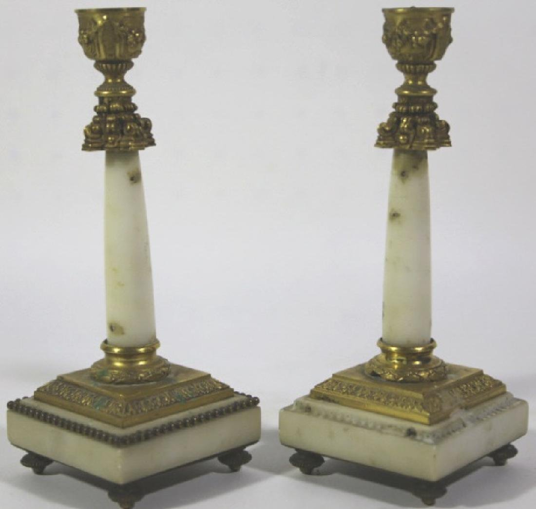 FRENCH ANTIQUE MARBLE BRONZE MOUNTED CANDLE PRICKS - 5
