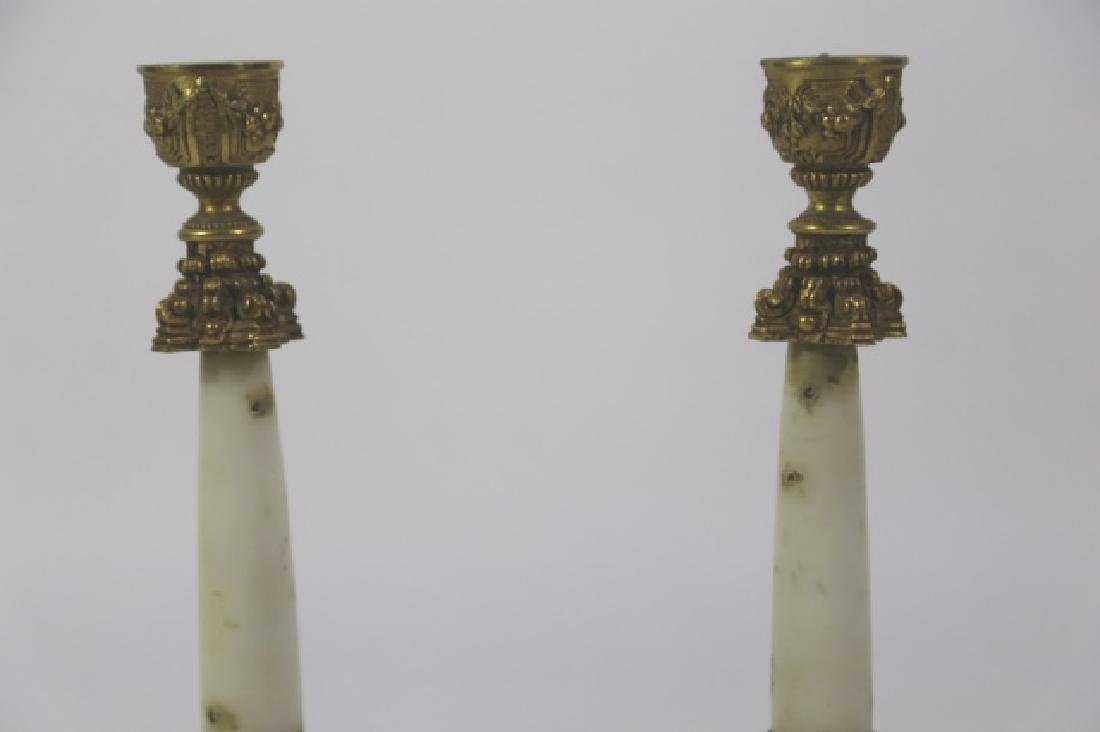 FRENCH ANTIQUE MARBLE BRONZE MOUNTED CANDLE PRICKS - 6