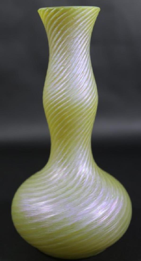 SATIN GLASS AURENE HAND BLOWN  ARTGLASS VASE - 3