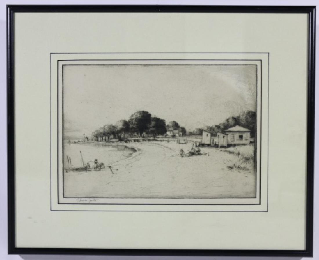 """J. ANDRE SMITH DRYPOINT ETCHING """"MONTASCO BEACH"""""""