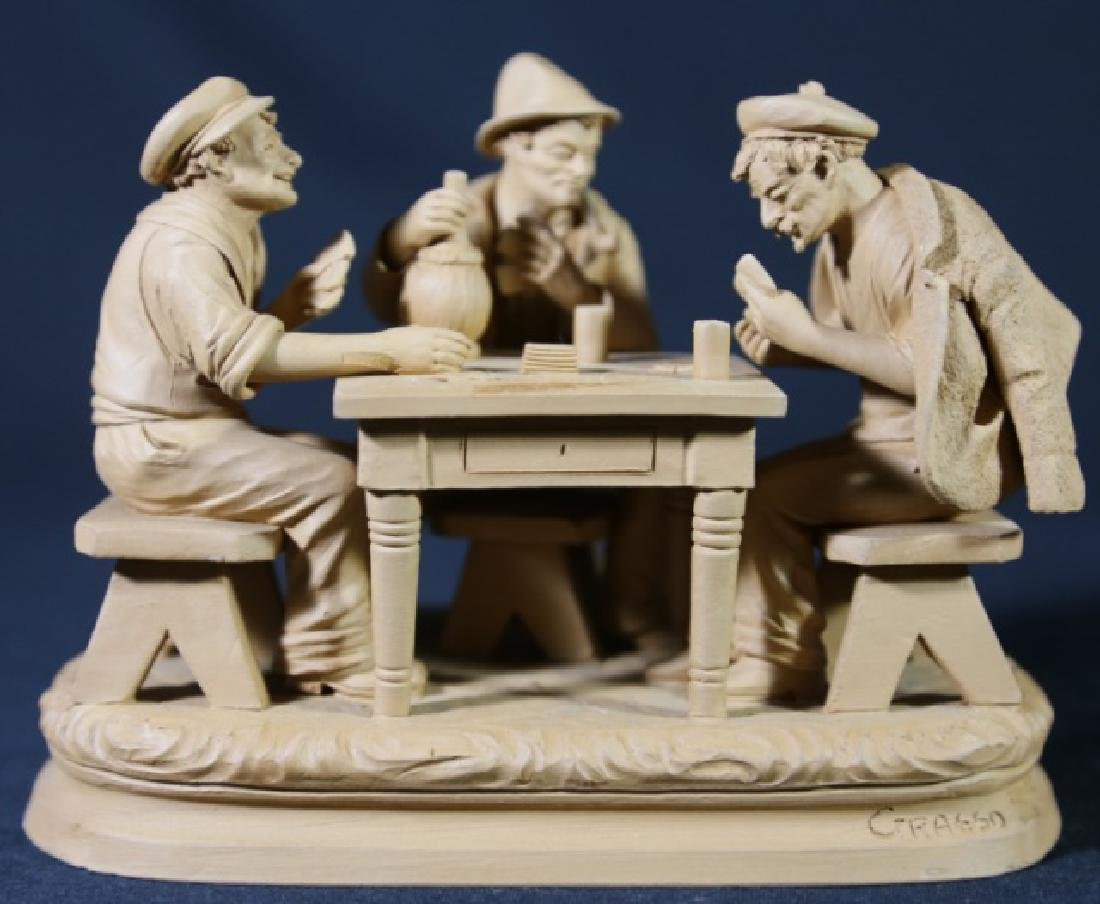 ITALIAN TERRACOTTA CARD PLAYERS SCULPTURE - 7
