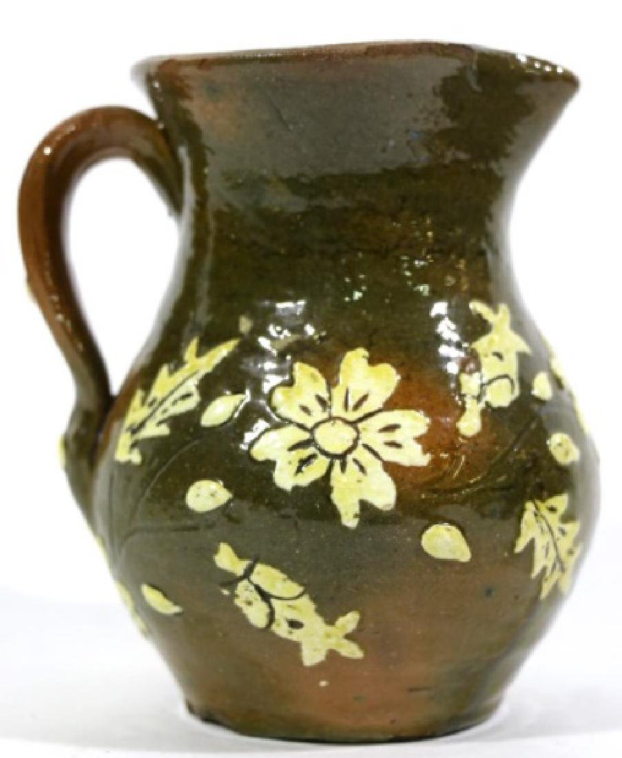 FLORAL ANTIQUE POTTERY WATER PITCHER