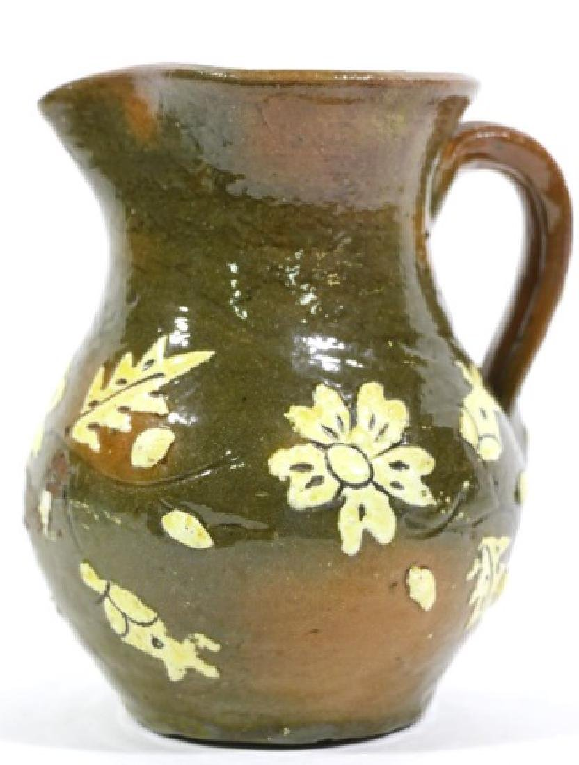 FLORAL ANTIQUE POTTERY WATER PITCHER - 5