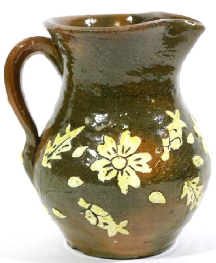 FLORAL ANTIQUE POTTERY WATER PITCHER - 6
