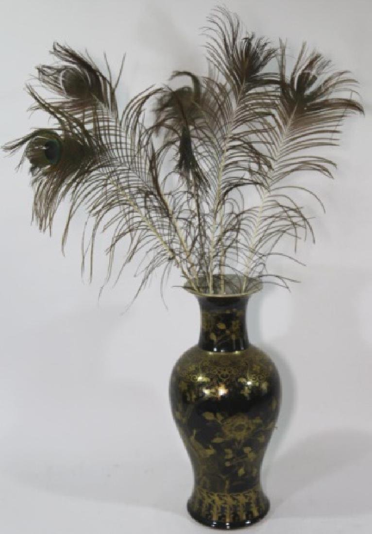 JAPANESE BALUSTER VASE W/ PEACOCK FEATHERS