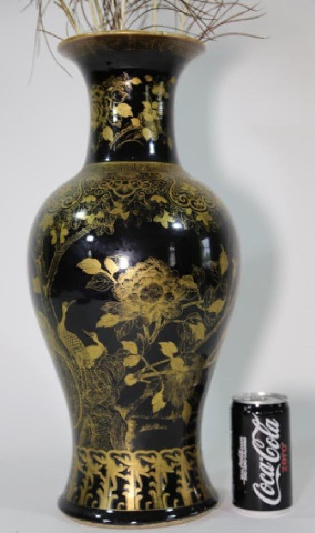 JAPANESE BALUSTER VASE W/ PEACOCK FEATHERS - 9
