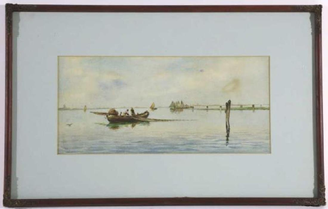 DUTCH UNSIGNED FISHING BOAT SEASCAPE WATERCOLOR