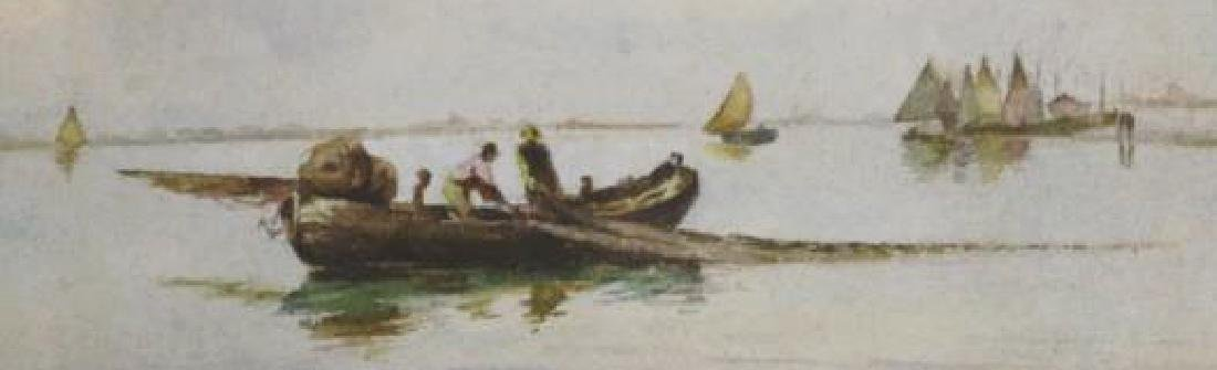 DUTCH UNSIGNED FISHING BOAT SEASCAPE WATERCOLOR - 2