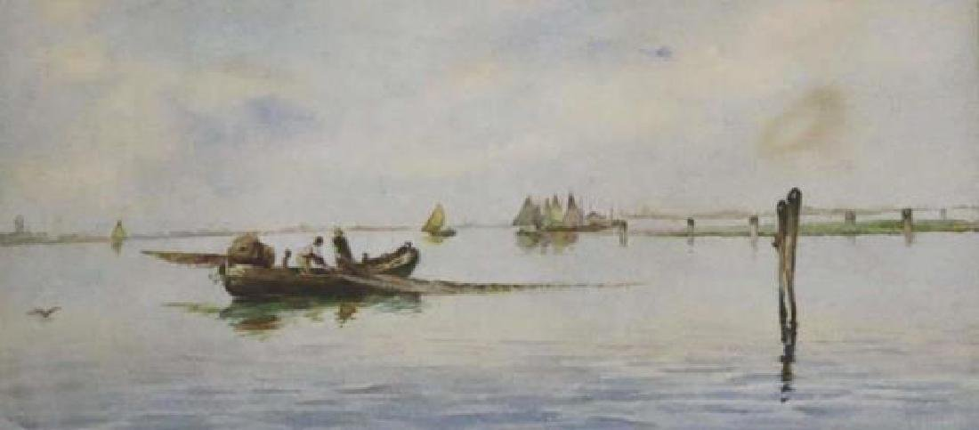 DUTCH UNSIGNED FISHING BOAT SEASCAPE WATERCOLOR - 3