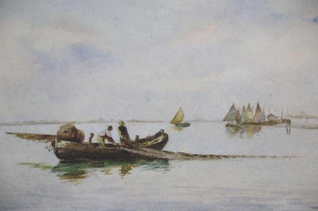 DUTCH UNSIGNED FISHING BOAT SEASCAPE WATERCOLOR - 5