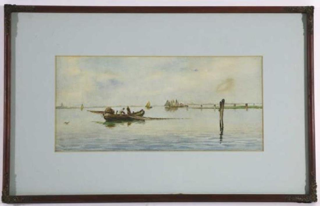DUTCH UNSIGNED FISHING BOAT SEASCAPE WATERCOLOR - 6