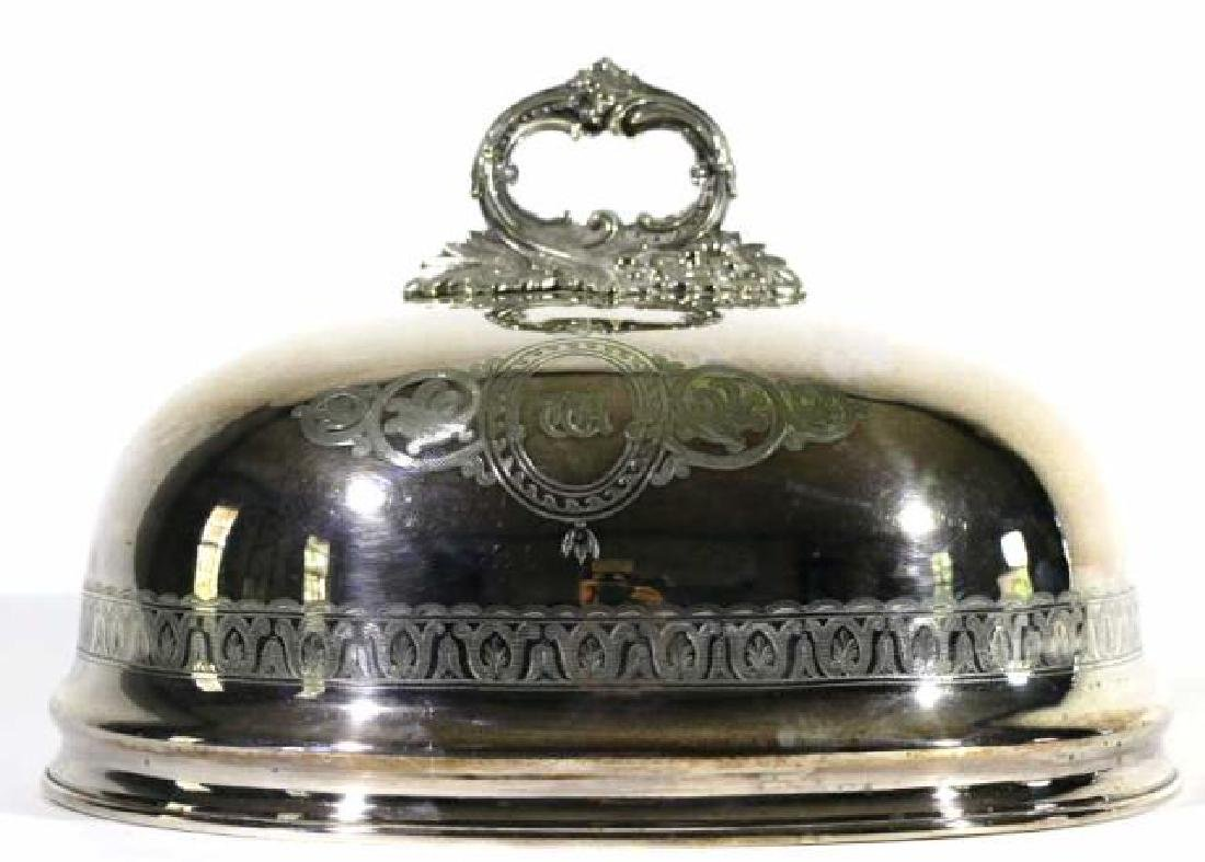 ENGLISH ANTIQUE SHEFFIELD SILVER POULTRY MEAT DOME