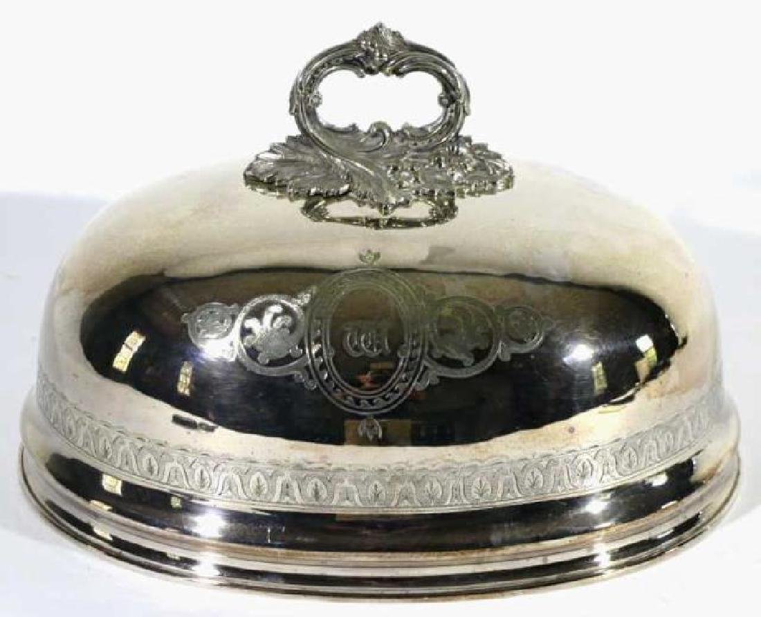 ENGLISH ANTIQUE SHEFFIELD SILVER POULTRY MEAT DOME - 5