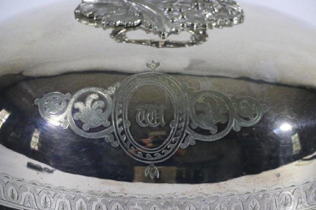 ENGLISH ANTIQUE SHEFFIELD SILVER POULTRY MEAT DOME - 6