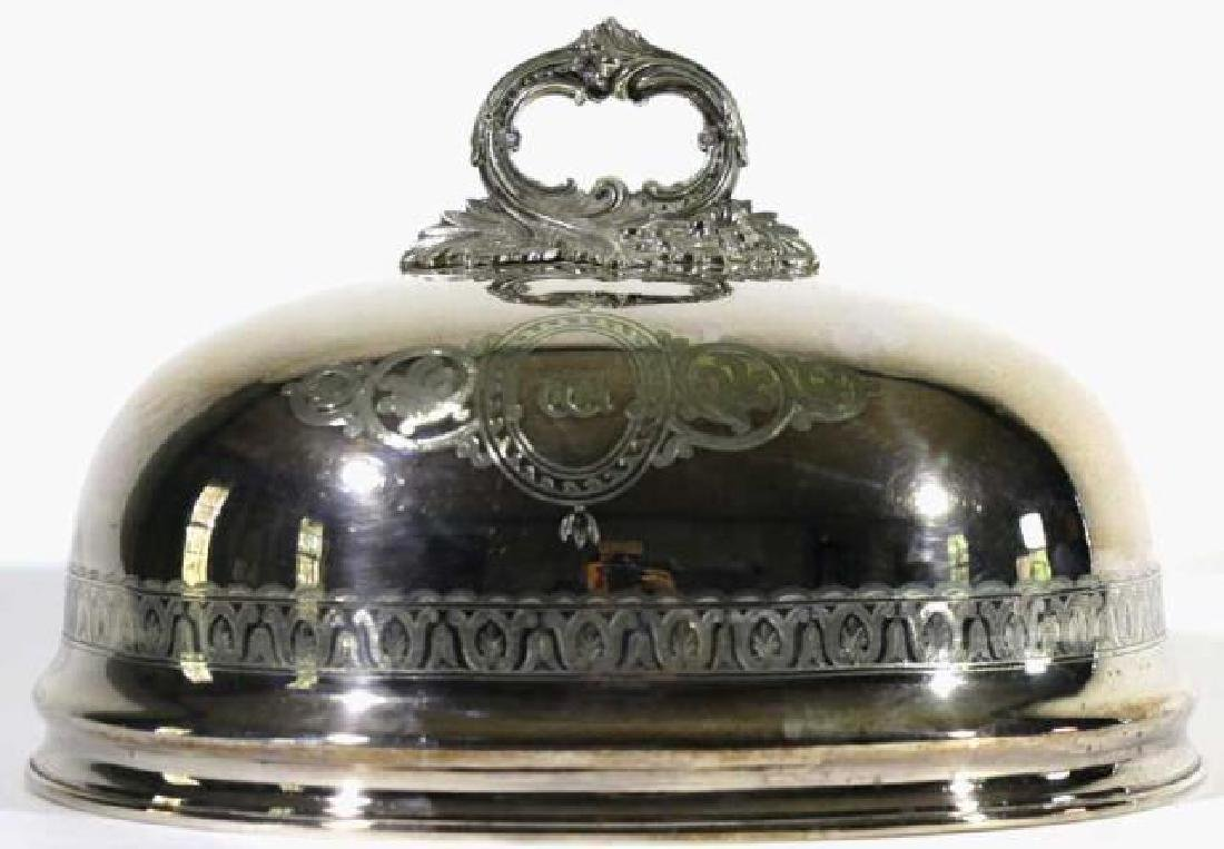 ENGLISH ANTIQUE SHEFFIELD SILVER POULTRY MEAT DOME - 7