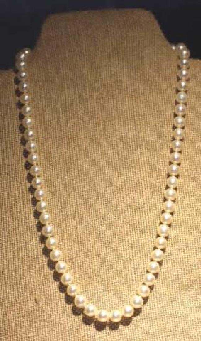 MIKIMOTO PEARL STRAND WITH 14KYG CLASP