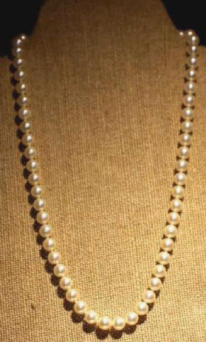 MIKIMOTO PEARL STRAND WITH 14KYG CLASP - 4