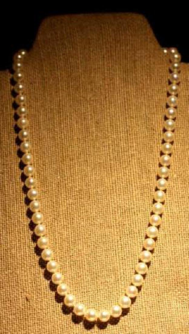MIKIMOTO PEARL STRAND WITH 14KYG CLASP - 9