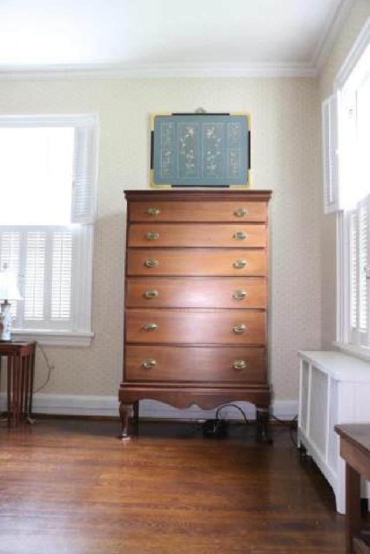SOUTHERN WALNUT ANTIQUE TALL CHEST ON FRAME - 3